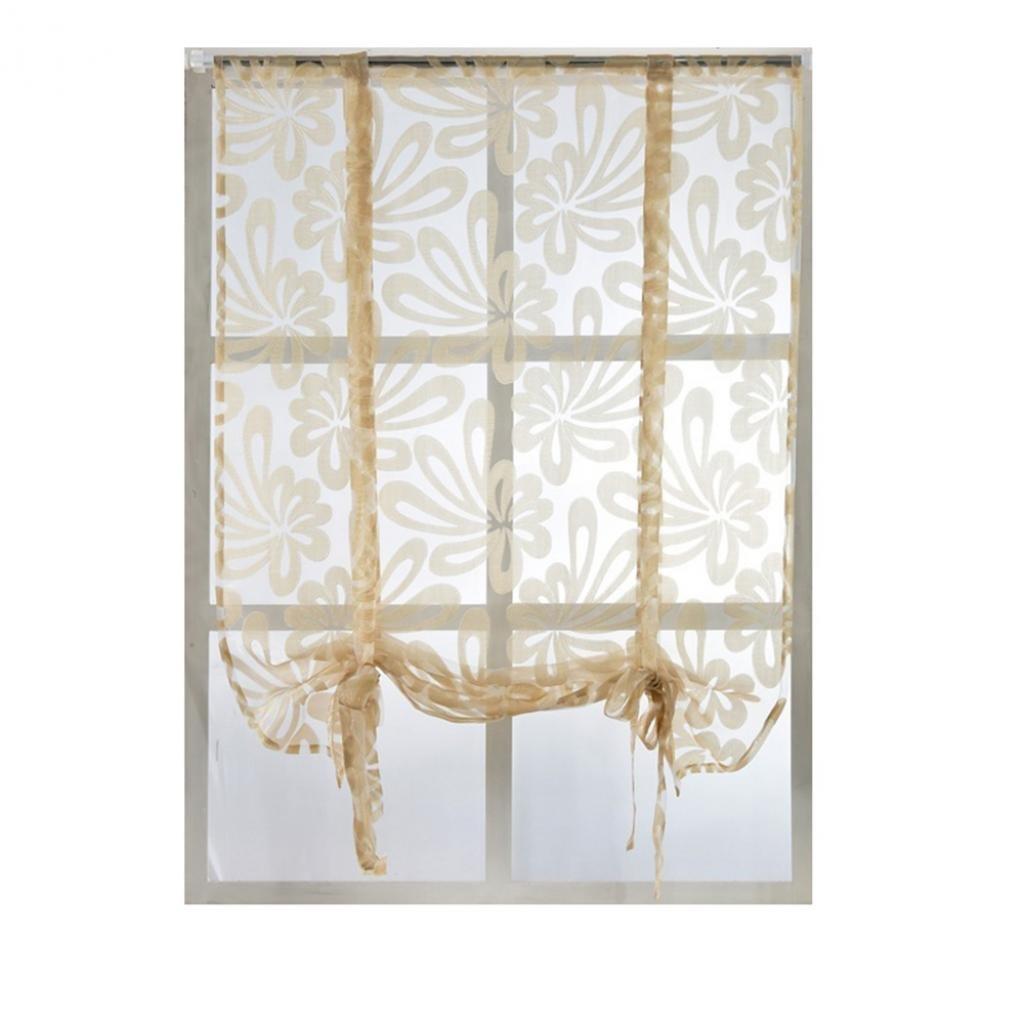 Sukisuki floreale finestra sheer tende a pannello divisorio drappo corto tenda mantovana, Poliestere, White, 100cm x 80cm