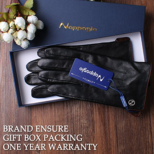 Nappaglo Men's Genuine Touchscreen Nappa Leather Gloves Driving Winter Warm Mittens (M (Palm Girth:8''-8.5''), Black (Touchscreen)) by Nappaglo (Image #7)