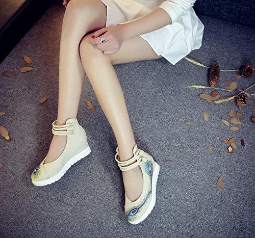 biancheria meters white aumento suola ricamate femminili comodo casual scarpe del moda xiuhuaxie etnico GuiXinWeiHeng tendine scarpe stile qZCtw