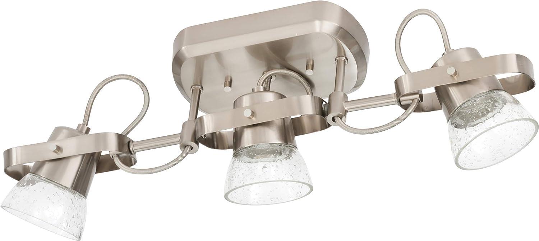 Brushed Nickel 2700K Renewed Lithonia Lighting LTFSGL3 27K 90CRI BN M4 3-Light LED Linear Seeded Glass Fixed Track Kit