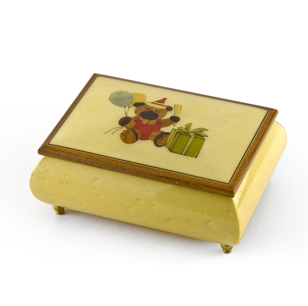 Festive 18 Note Handcrafted Beige Happy Birthday Bear Music Box - Take Me Out to the Ball Game