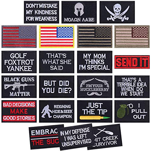 22 Pcs Tactical Patches Military Morale Patch Full Embroidery Patch Set for Hats, Cap, Bags, Backpack, Uniforms, Clothes