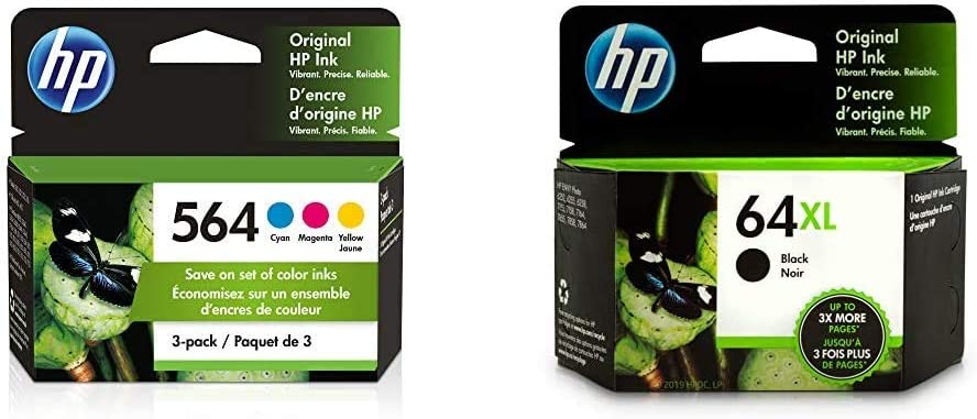 HP 564 | 3 Ink Cartridges | Cyan, Magenta, Yellow | CB318WN, CB319WN, CB320WN & 64XL | Ink Cartridge | Black | N9J92AN