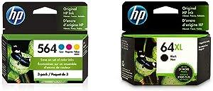 HP 564 | 3 Ink Cartridges | Cyan, Magenta, Yellow | CB318WN, CB319WN, CB320WN & 64XL | Ink Cartridge | Black | N9J92AN