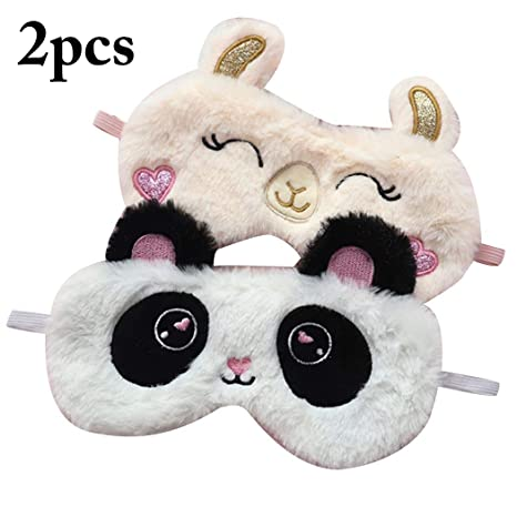 Justdolife 2pcs maschera per dormire peluche creativa animale dei