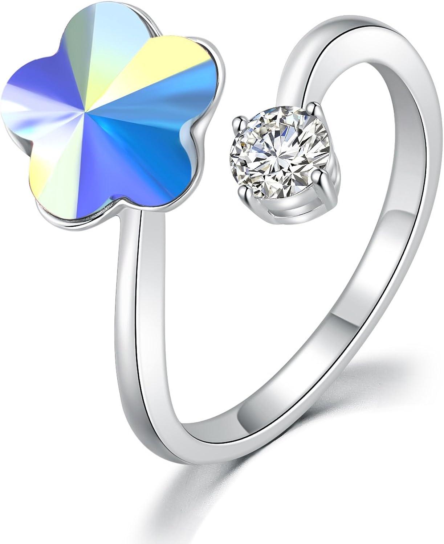 Moda DRMglory ciruela flor anillo ajustable Princesa Cut Finger Rings joyería caja de regalo para mujeres niñas Bithday boda día de navidad rojo / blanco