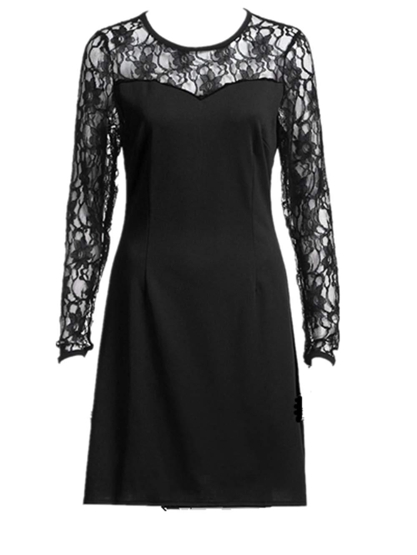 Ximandi Fashion Women Long Sleeve Hollow Out Lace Patchwork Evening Party Dress Black by Ximandi