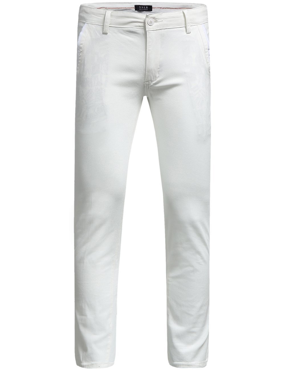 SSLR Men's Hybrid Stretch Casual Slim Fit Pants (W36 x L34, White)