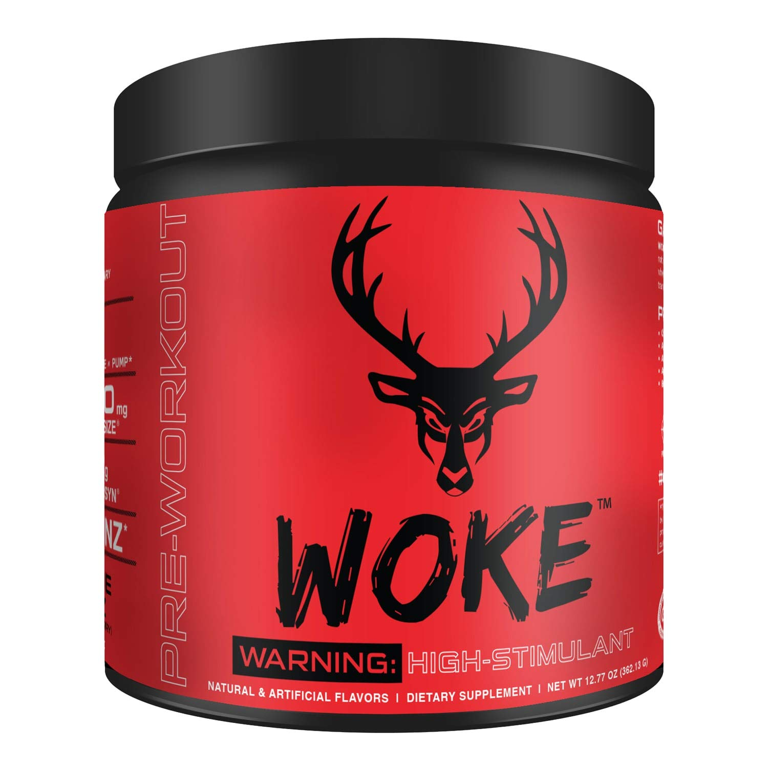 Bucked Up - Woke - HIGH STIM Pre Workout - Best Tasting - Focus Nootropic, Pump, Strength and Growth, 30 Servings (Blood Raz) by BUCKED UP (Image #1)