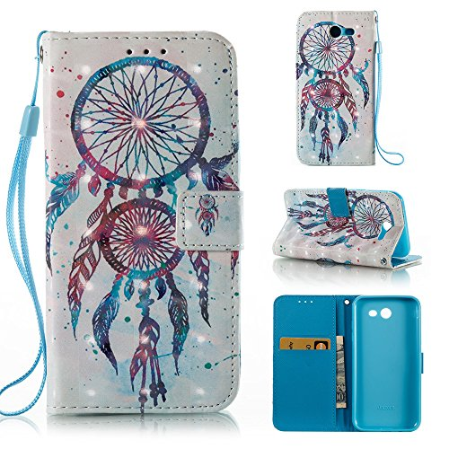 Galaxy J7 V Case Case Wallet/Samsung J7 Prime Case/J7 Sky Pro Case/J7 2017/J7 Perx/Galaxy Halo Case,Voanice Luxury PU Leather Card Slots Kickstand Flip Cover Protective&Stylus-Colorful Aeolian bells