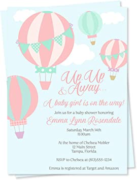 Aqua Balloons Personalised Children/'s Party Invitations