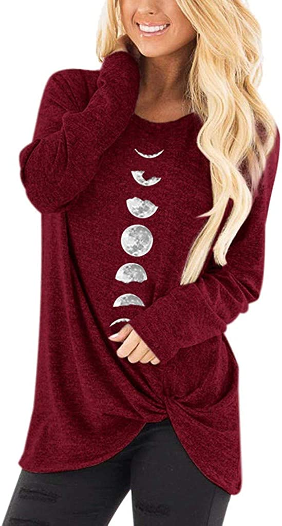 URIBAKE Womens Casual Solid Color Long Sleeve Crewsneck Knot T Shirts Twist Knot Print Tunic Blouse Tops