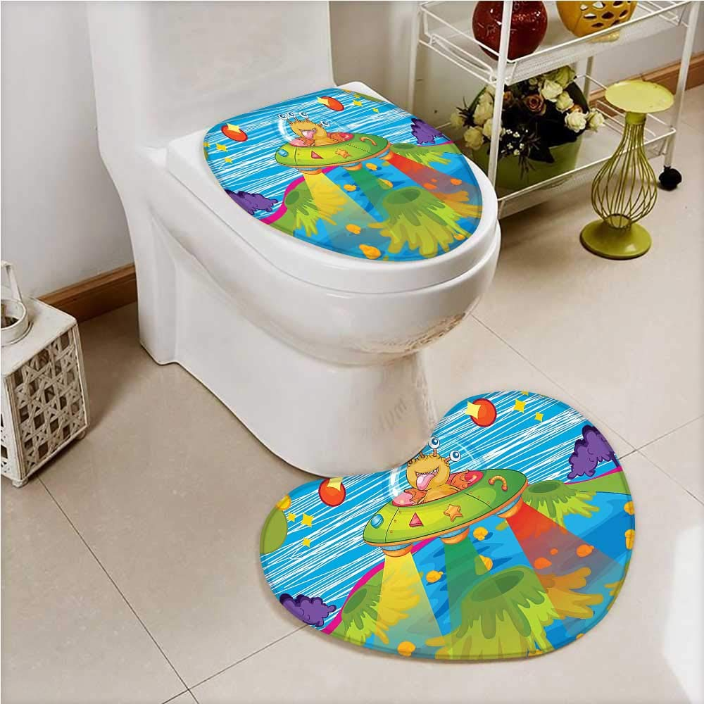 aolankaili Printed Bath Heart Shaped Foot pad Set for Scary Monster in UFO on Planet Solar System Funky Back Green Blue 2 Piece Heart Shaped Foot pad Set