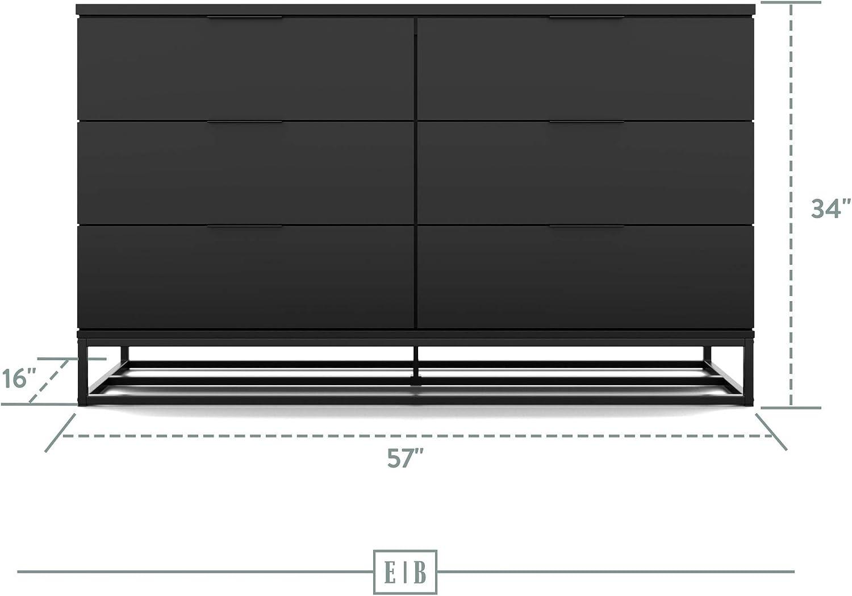 Black 6 Edenbrook Six/Drawer Preston/Dresser-/Storage Chest-Modern Design-Easy Assembly-Multiple Colors