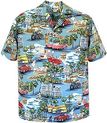 Vintage Route 66 Mens Hawaiian Shirt Made in Hawaii USA