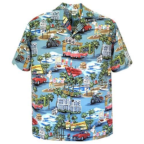 (XL Blue Vintage Route 66 Men's Hawaiian Shirt - Made in Hawaii USA)