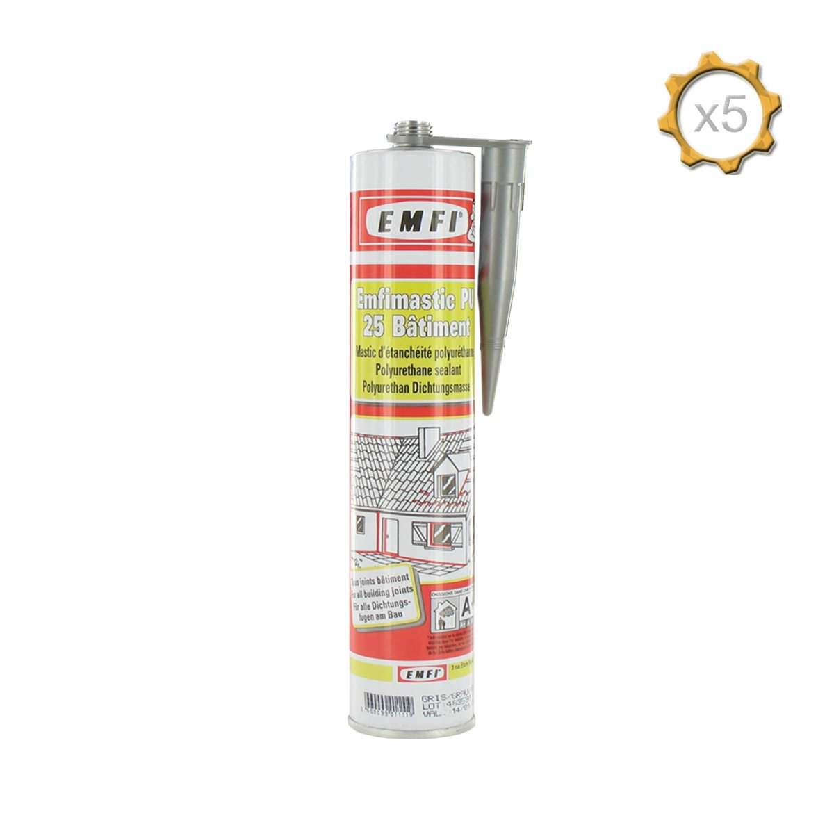 Mastic polyuré thane gris EMFI PU 25 bâ timent 310ml x 5