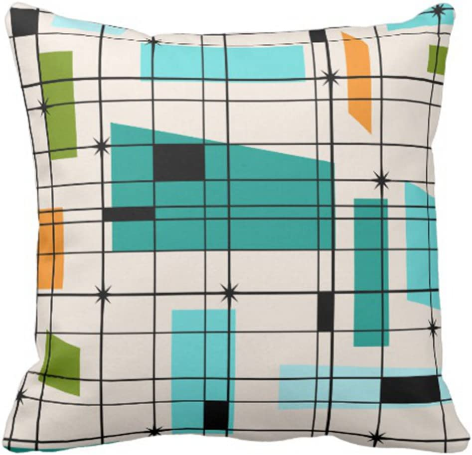 Emvency Throw Pillow Cover Teal Mid Retro Grid and Orange Century Decorative Pillow Case Home Decor Square 20 x 20 Inch Pillowcase