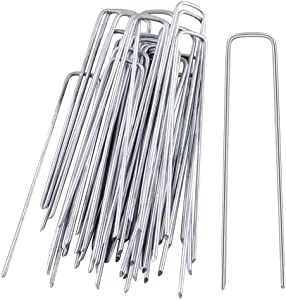 EWONICE Galvanized Garden Stakes Pins, 50 Pack 11 Gauge Garden Landscape Staples Stakes Pins Heavy Duty Sod Pins Anti-Rust Fence Stakes for Anchoring Weed Barrier Fabric (8 Inch)