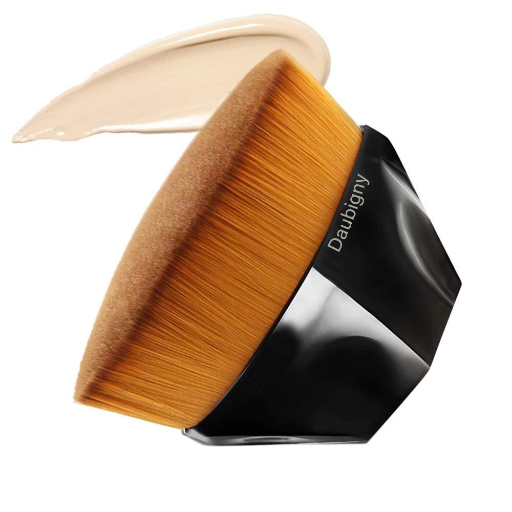 Foundation Makeup Brush Flat Top Kabuki Hexagon Face Blush Liquid Powder Foundation Brush for Blending Liquid, Cream or Flawless Powder Cosmetics with Bonus Protective Case (Black)