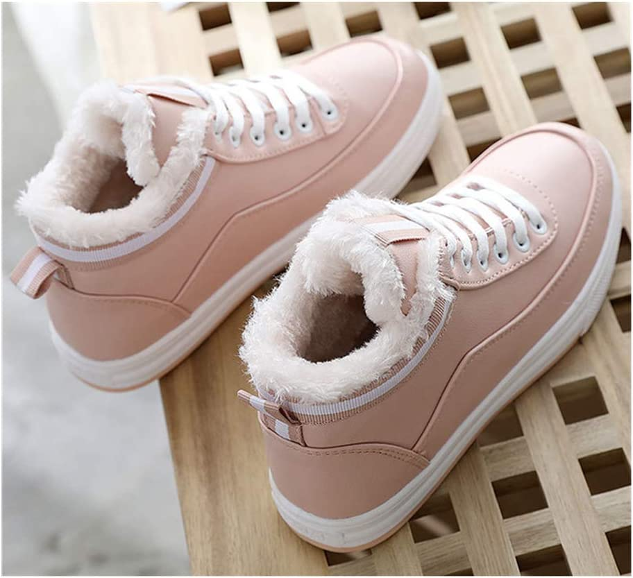 Pink, US 7.5 Womens Lace Up Fur Lined Ankle Winter Warm Snow Boots Outdoor Walking Sneakers