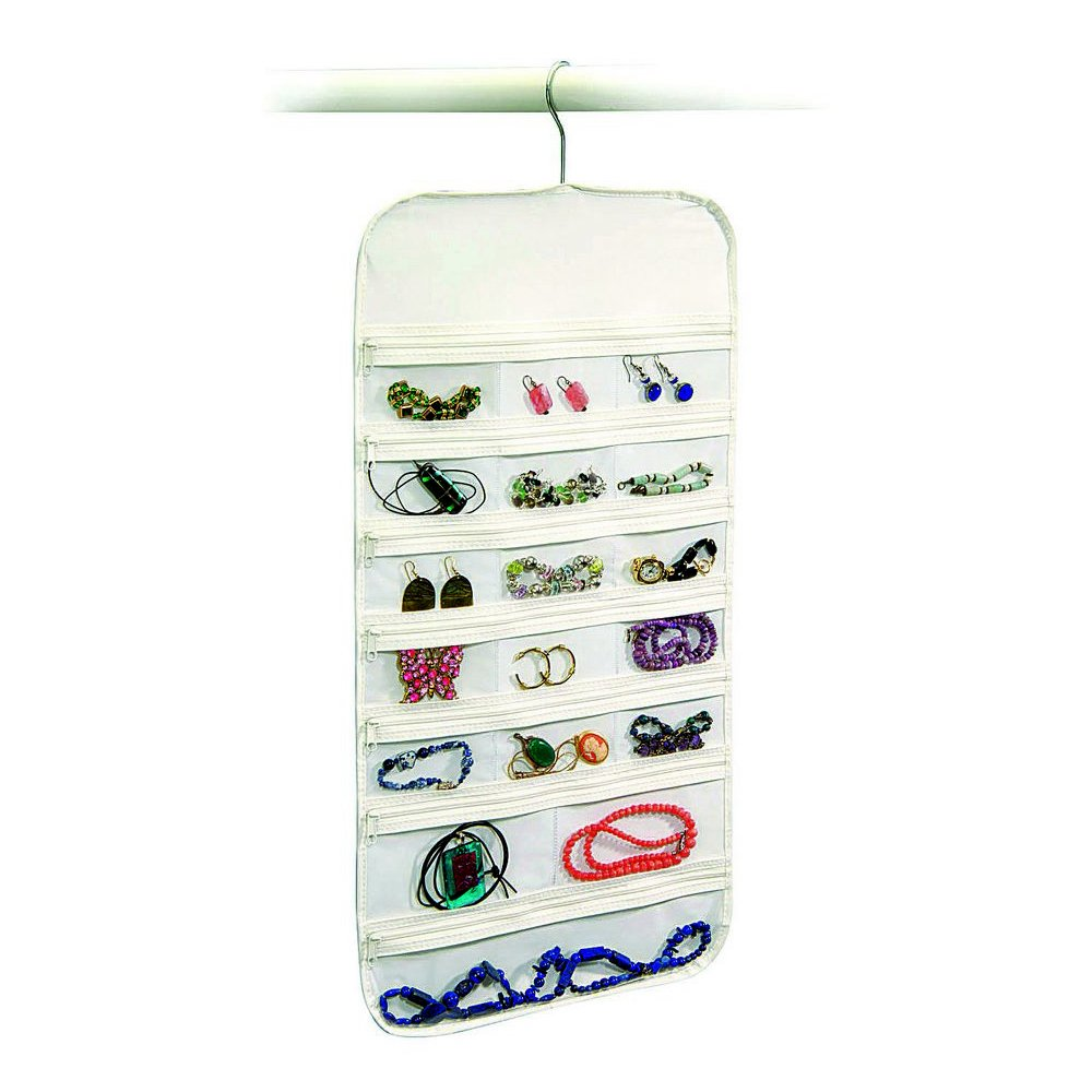 Hanging Jewelry Organizer 37 Pockets Bedroom Closet Color: White Richards Homewares. 15337