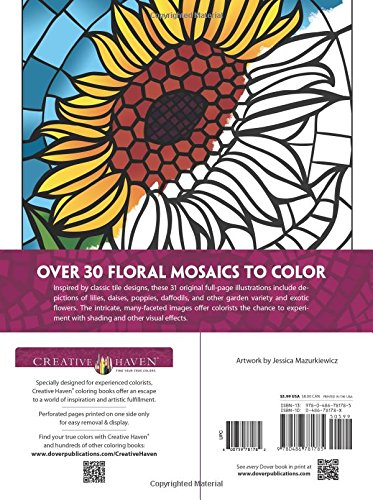 creative haven floral mosaics coloring book adult coloring jessica mazurkiewicz 9780486781785 amazoncom books - Mosaic Coloring Book