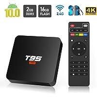 Android 10.0 TV Box, Sidiwen T95 Super Android Box Allwinner H3 Quad-Core 2GB RAM 16GB ROM Media Player, 2.4Ghz WiFi Ethernet 3D 4K Smart TV Box