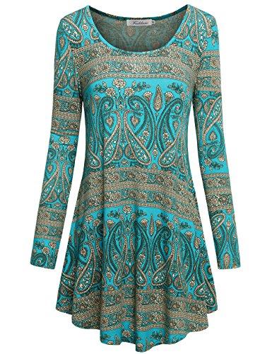 Faddare Crew Neck Mini Dresses for Women,Flower Paisley Shift Tunic Dress,Blue Green S
