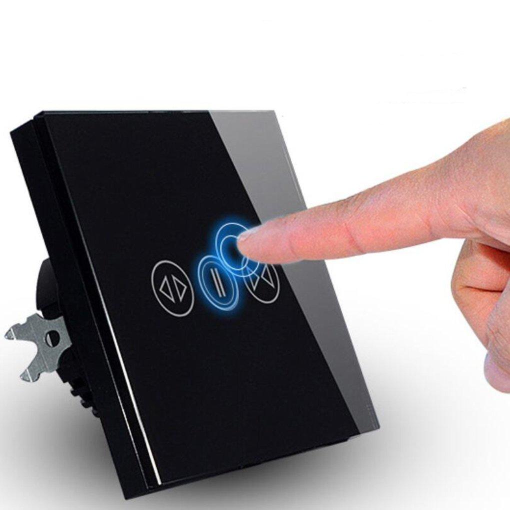 chunyang 433 MHz Smart cortina Interruptor cortinas Motor con mando a distancia inalá mbrico Receptor y emisor elé ctrico cortina Touch interruptor negro
