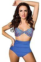 BOOLAVARD Women Vintage 50s Pinup Girl Rockabilly High Waist Retro Bikini Swimsuit Set
