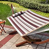 "Image of LazyDaze Hammocks 55"" Double Quilted Fabric Hammock Swing with Pillow for Two Person, Off-White/Green/Brown Stripe"