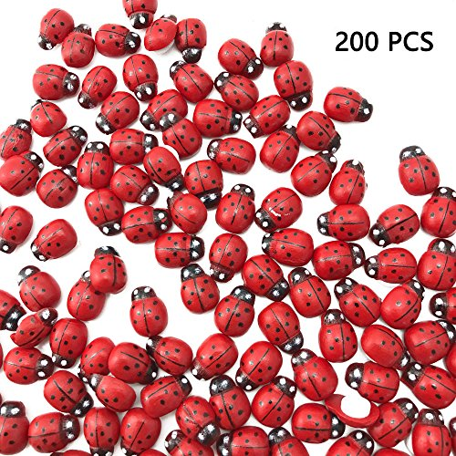 Sc0nni 200Pcs Painted Wooden Ladybug/Self Adhesive/Craft/Decorations/Home Decor/Plants 10x13mm ()