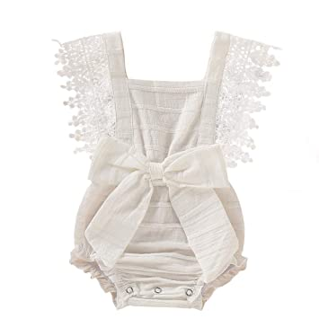 5a2219d9455c1 Amazon.com: NUWFOR Newborn Infant Baby Girl Boy Solid Lace Bow ...