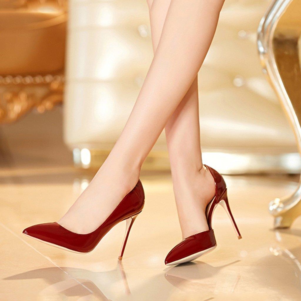 Single Single Single scarpe - female Scarpe col tacco alto Fashion Tip Stiletto Pumps 8.5cm 10cm - Scarpe da sposa rosso vino (colore   Height 10cm, dimensioni   36-scarpe long230mm) f5339a