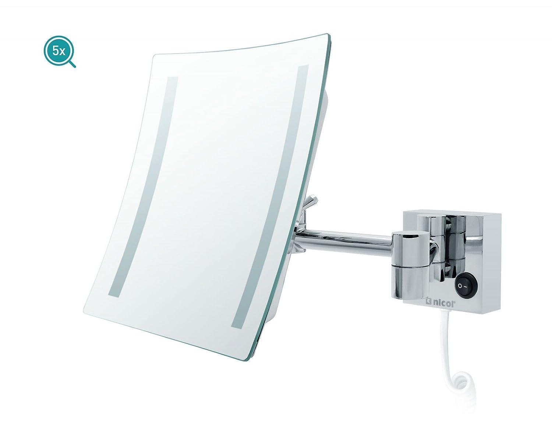 Nicol Olivia Éclairage LED miroir cosmétique avec grossissement 5 x repliable - métal - chrome - 20 x 20 x 40 cm
