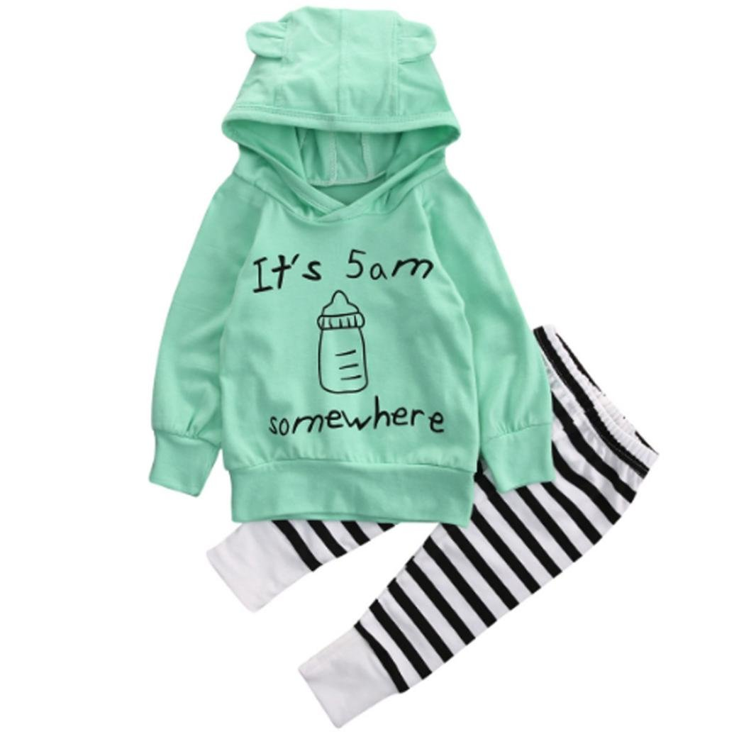 Baby Girl 2PCS Outfits Set 18-24 Month, Green Pants Outfits YJM Infant Baby Boy Girl Clothes Letter Print Long Sweatshirt