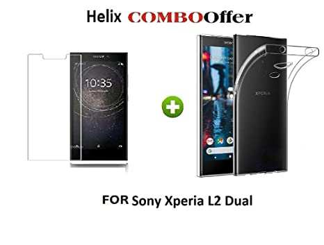 buy popular 05c2a 91702 Helix for Sony Xperia L2 Dual Transparent Back Cover + 1 Tempered Glass  (Combo Offer Pack by HELIX)