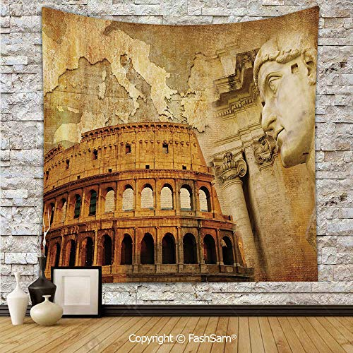 FashSam Tapestry Wall Hanging Roman Empire Concept Famous Columns Sculptress Colosseum Map of The Nation Print Decorative Tapestries Dorm Living Room Bedroom(W59xL90) -