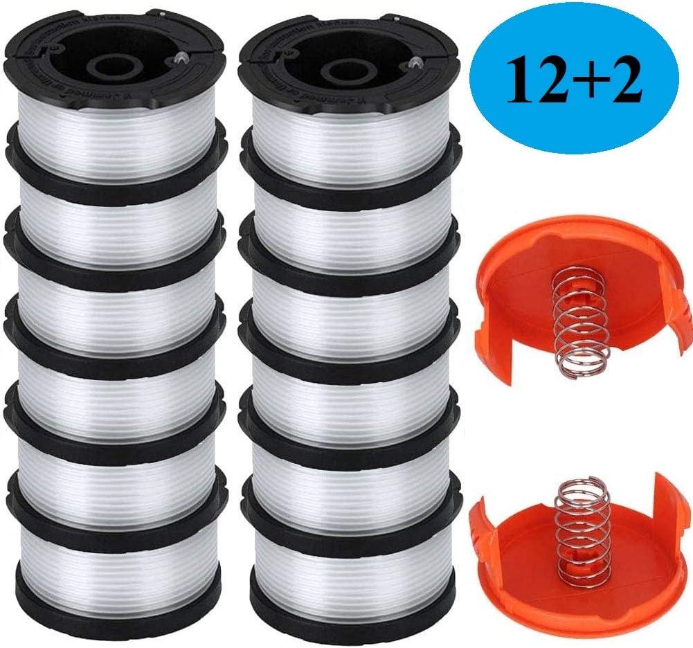 """AF100 Replacement Spool for Black and Decker AF-100-3ZP AF-100-BKP,30-Foot,0.065-Inch,(AF-1003ZP) fits GH900 GH600 GH610 String Trimmer 30ft 0.065"""" Trimmer Line Replacement Spool Refills (12 + 2 )"""