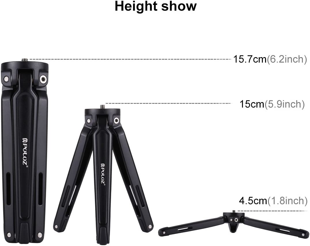 Max Load: 20kg Durable Size : Desktop Tripod Black Perfect Home Convenience Durable Pocket Mini Metal Desktop Tripod Mount for DSLR /& Digital Camera Adjustable Height: 4.5-15cm