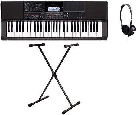 Casio CT-S100 Keyboard Set Schwarz 61 Tasten Keyboardständer Kopfhörer Schule
