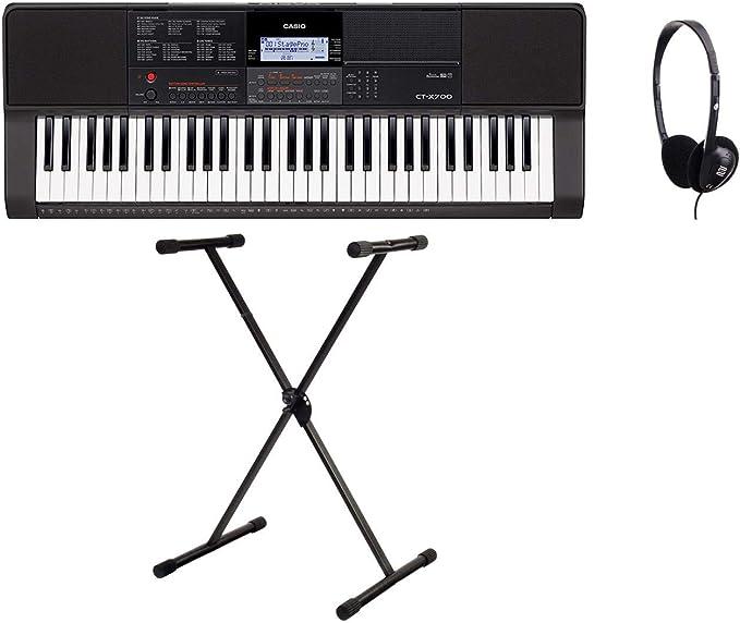 Casio ct X700 Keyboard Set (Digital Keyboard con 61 teclas, incluye X de soporte para teclado y multifunción auriculares, ideal para principiantes), ...