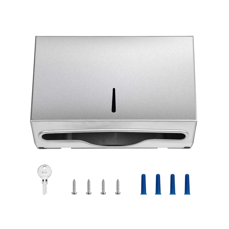 Pack of 10 - Paper Towel Dispenser - 304 Grade Stainless Steel - Lockable Design - 250 C-Fold Capacity - 300 Multi-Fold Capacity