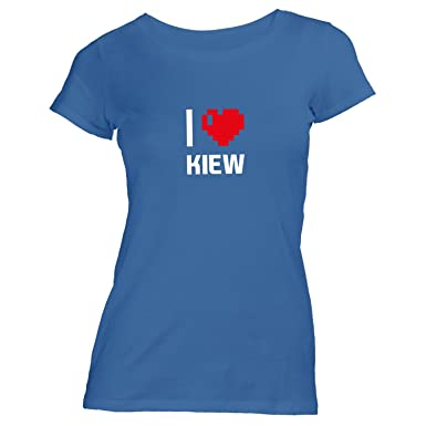 Monkiez Damen T-Shirt - I Love Kiew - Ukraine Reisen Herz Heart Pixel,