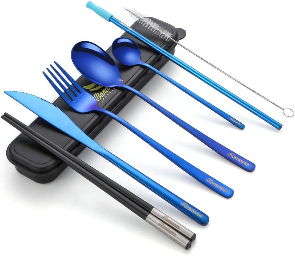 Reusable Utensil Set, Portable Travel Cutlery Kit with Compact Carry Case for Office Lunch Camping School Picnic, 9-pieces Including Knife Fork Spoon Chopsticks Straw Brush (Blue)