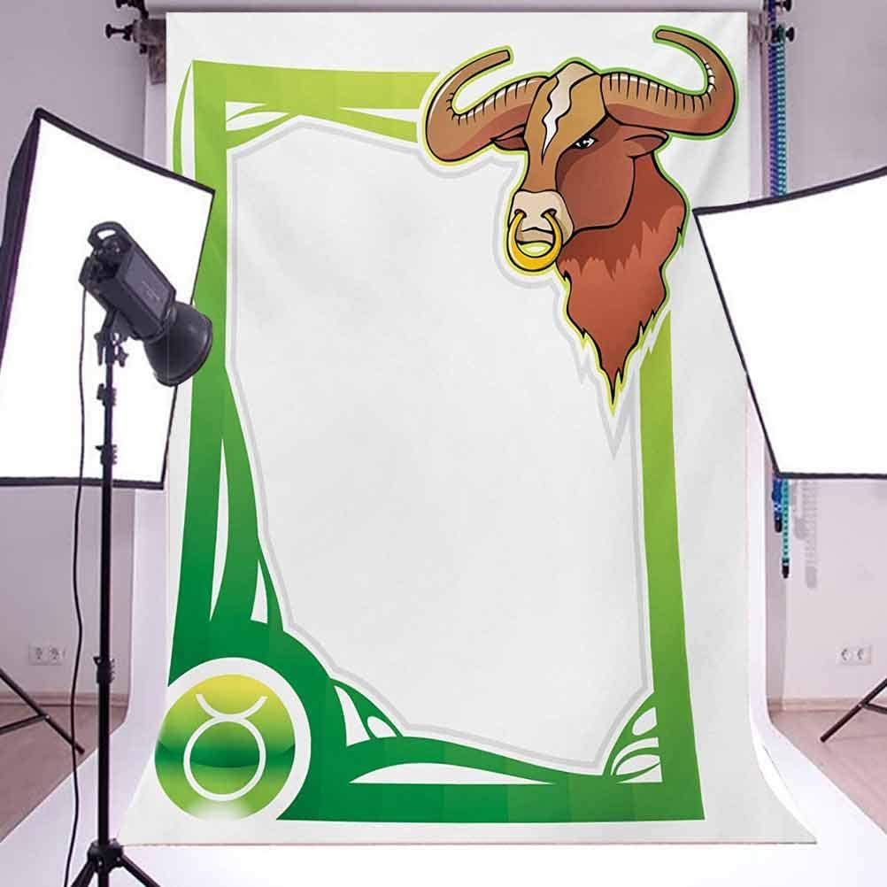 Zodiac Taurus 6.5x10 FT Photography Backdrop Second Sign from The Series of Zodiac Cartoon Style Frame Background for Baby Shower Birthday Wedding Bridal Shower Party Decoration Photo Studio