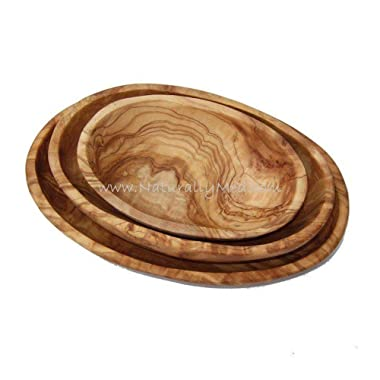 Naturally Med - Olive Wood Set of 3 Oval Dishes (stackable)