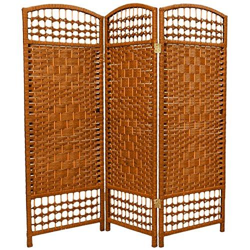Oriental Furniture 4 ft. Tall Fiber Weave Room Divider - Dark Beige - 3 Panels