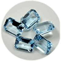 CaratYogi Real Blue Topaz Total 7.5 Carat Loose Gemstone Lot 5 Pezzi Rectangle Birthstone Wholesale